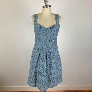 Anthropologie Deletta Blue Floral Lace Dress